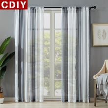 CDIY Stripe Tulle Curtains for Bedroom Living Room Kitchen Sheer Voile Curtains for Window Screening Drapes Custom Panel Door cdiy tulle curtains for living room bedroom kitchen modern sheer curtains for window screening linen voile curtains drapes door