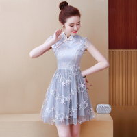 2019 chinese dress flower lace sleeveless qi pao dress chinese lady mandarin collar cheongsam wedding dress party qipao