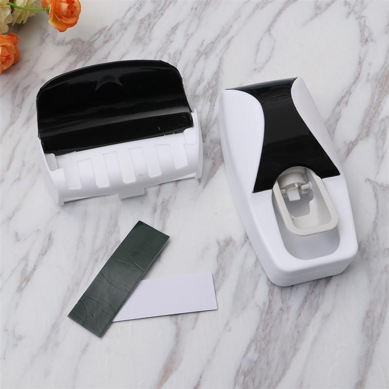 Image 3 - 2Pcs Wall Mounted Toothbrush Holder Manual Toothpaste Squeezer Suction Toothbrush Hanger Home Bathroom Accessories Set (Black)-in Toothbrush & Toothpaste Holders from Home & Garden