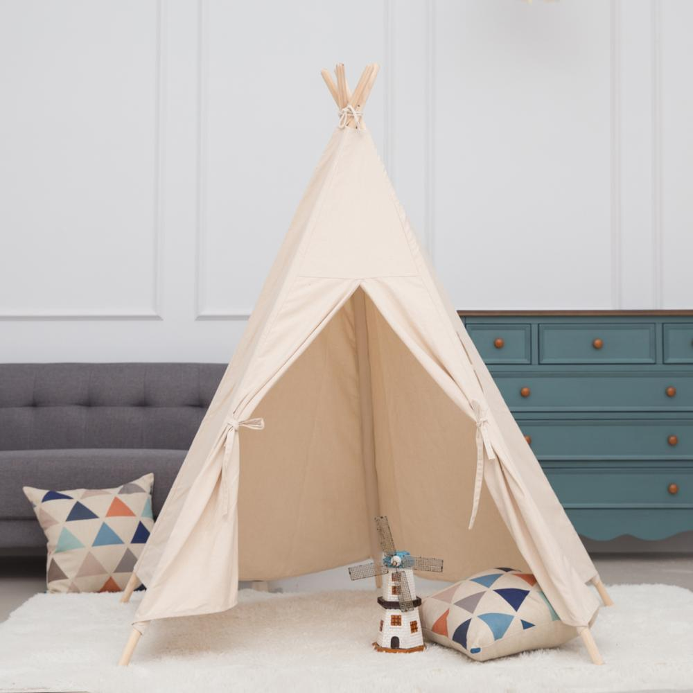 Large Princess Kids Teepee Play Tent 100% Cotton Canvas Children Tipi Playhouse Indoor Outdoor Toy Boys Girls Baby Gift With Mat kids parachute toy with handles play parachute tent mat cooperative games birthday gift lbshipping