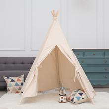 Large Princess Kids Teepee Play Tent 100% Cotton Canvas Children Tipi Playhouse Indoor Outdoor Toy Boys Girls Baby Gift With Mat blue grid teepee tent for kids boys tipi tent wigwam playhouse