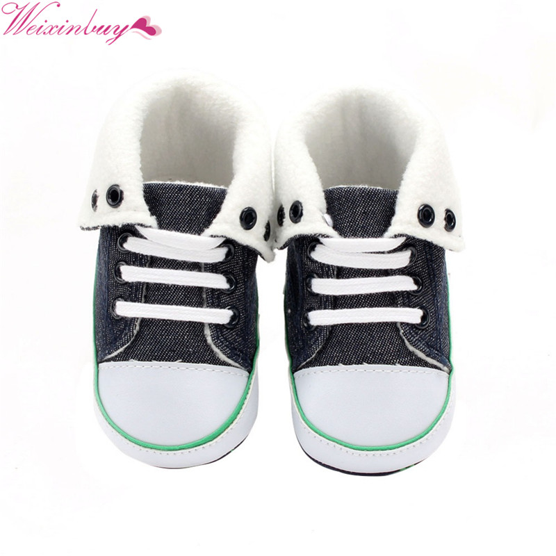 Winter Warm Baby Girl Soft Sole Baby Denim Cashmere Shoes Baby Boy Light Comfortable Anti-slip Windproof Shoe
