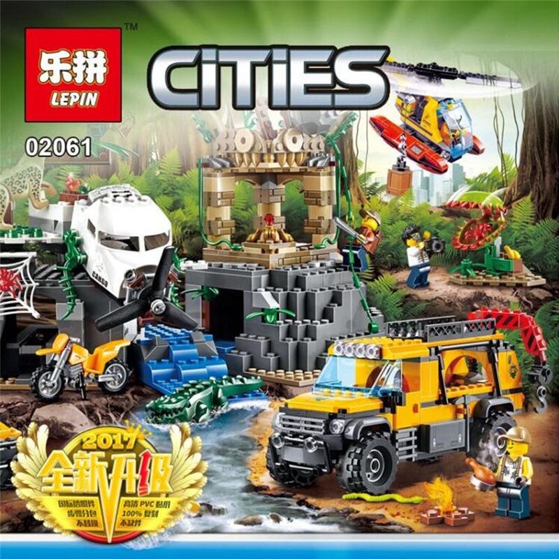 Compatible Legoe City 60161 2017 02061 870pcs Jungle Exploration Site Figure Building Blocks Bricks Toys For Children Boys Gifts lepin 02061 genuine city series the jungle exploration site set 60161 building blocks bricks christmas gift for children 870pcs