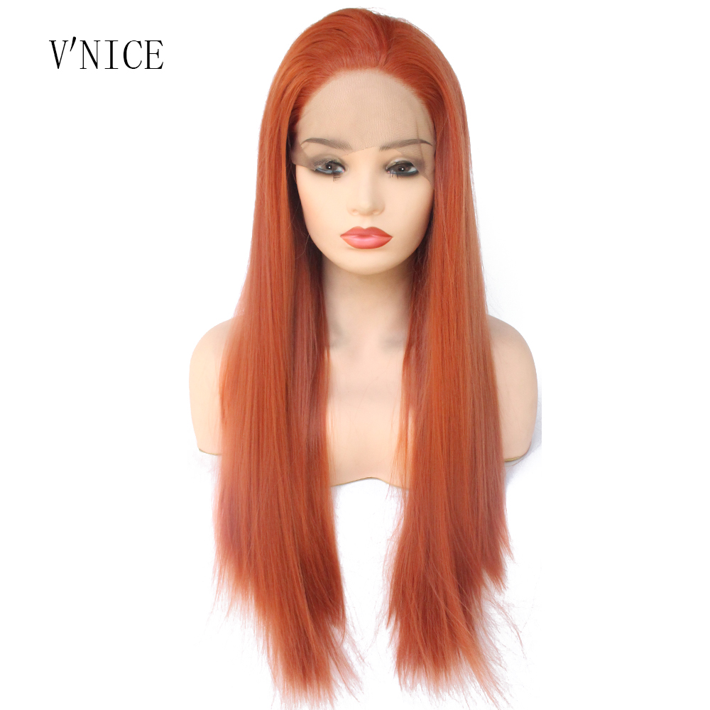 V NICE Natural Long Straight Middle Part Orange Red Wig High Temperature Fiber Synthetic Lace Front