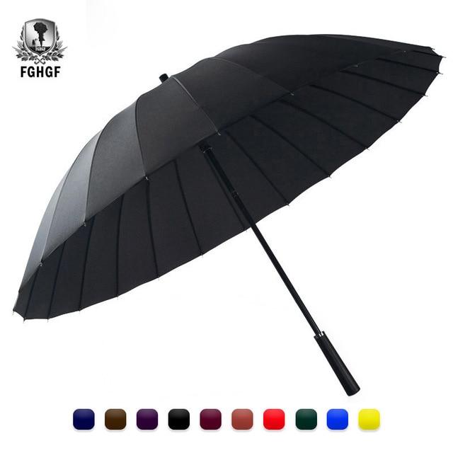 FGHGF 24 K цветной большой зонт для гольфа защита от дождя и ветра Мужской трость для прогулок для мужчин и женщин с длинной ручкой не автоматический джентльмен леди