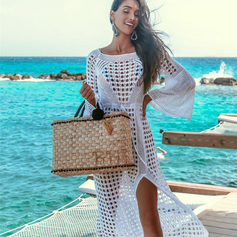 2019 Sexy Crochet Knitted Bikini Cover Up Long Beach Dress Swimwear Tunic Beachwear Bathing Suit Summer Holiday Beach Cover Ups