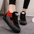 Manresar 2016 Mulheres Moda Outono Inverno Sapatos Casuais Respirável Sapatos de Lona Mulher High Top Lace-up Casual Algodão Quente Curto botas