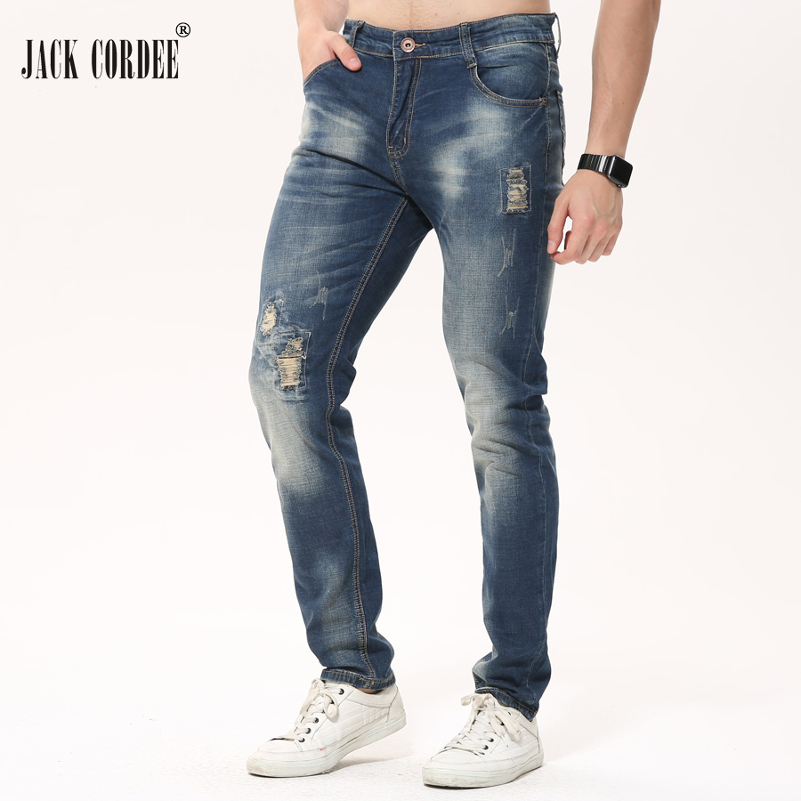 цены JACK CORDEE Mens Fashion Hole Straight Jeans Men Slim Ripped Jeans For Men Stretch Denim Jeans Homme Pants Casual Jean Trousers
