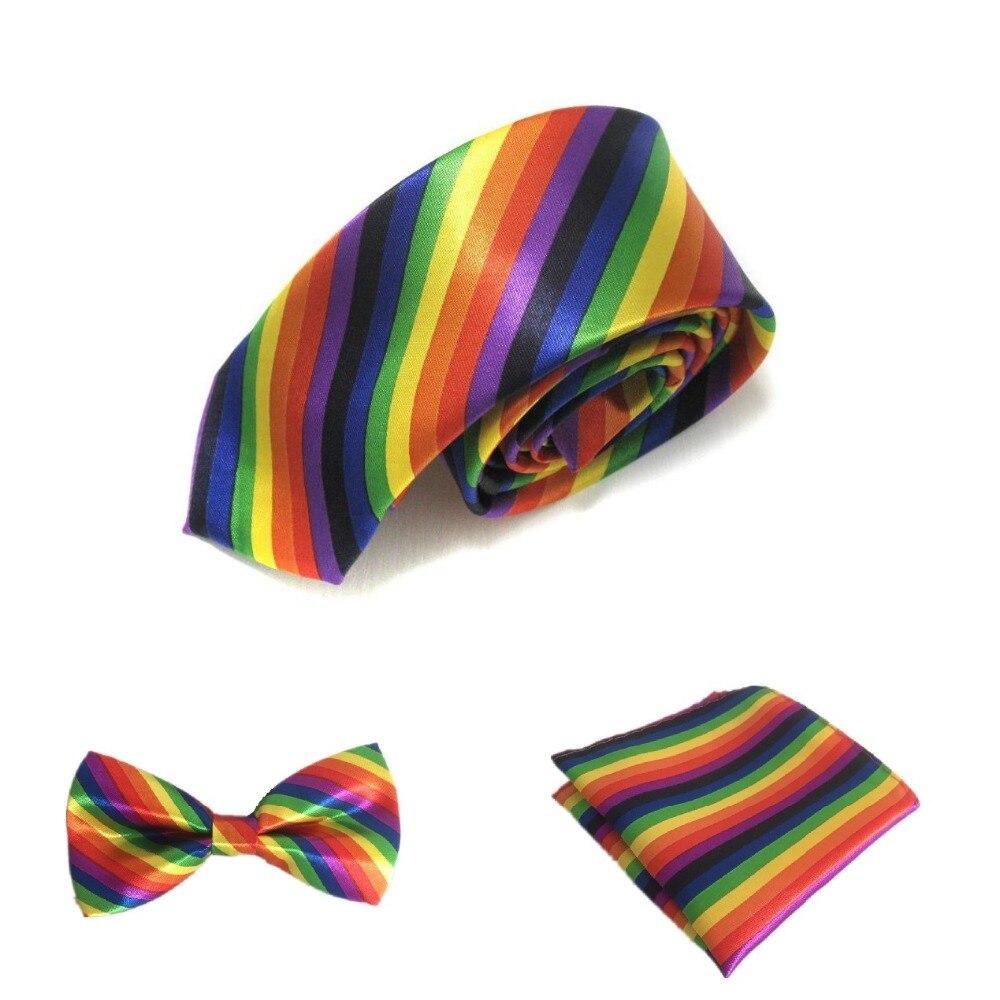 HOOYI Rainbow Neck Tie Set Stripe Gravata Slim Bow Ties Pocket Handkerchief Men Accessories