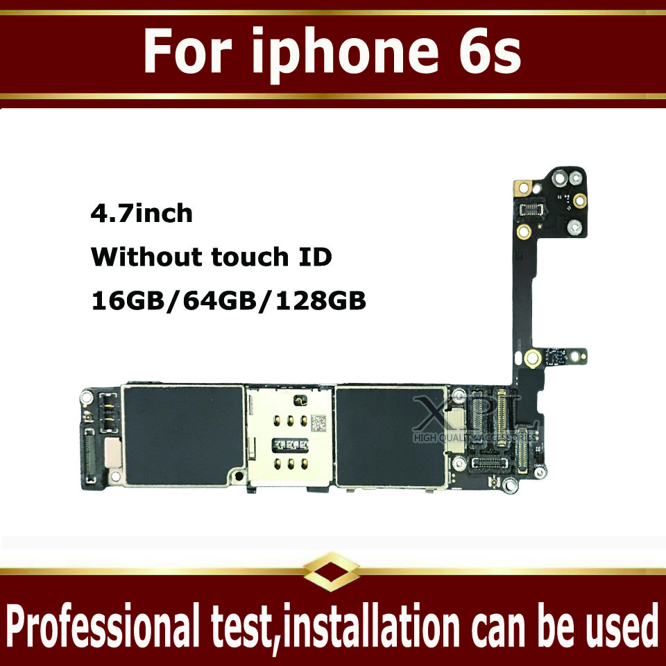 Clean iCloud 100% full unlocked mainboard without touch ID for <font><b>iphone</b></font> <font><b>6S</b></font> 6 S <font><b>16GB</b></font> 64G 128GB original <font><b>motherboard</b></font> with IOS system image