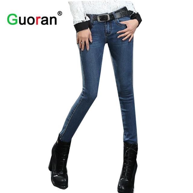 {Guoran} 2017 Pantalones vaqueros flacos para mujer Más El tamaño de mezclilla Azul pantalones Flacos ladies Femme Pantalon jeans leggings sin terciopelo