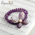 Special New Fashion Natural Stone Bracelets amp& Bangles Pearls Butterfly Purple Bracelets Fine Jewelry for Girls Women SL150810