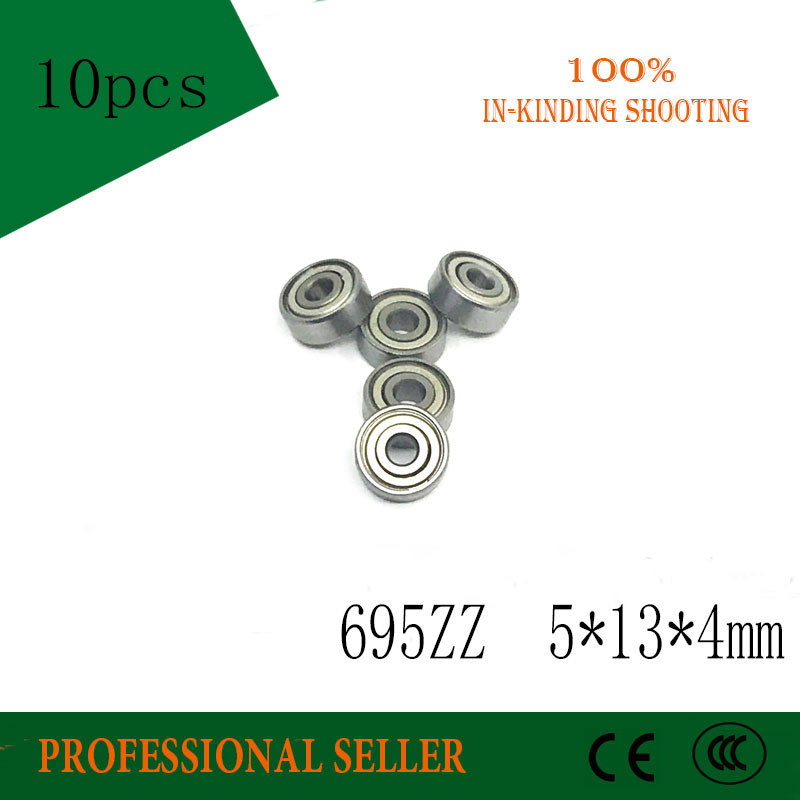10pcs  695ZZ 5*13*4mm ABEC-3 P6 Miniature Bearing  695-2Z 695-Z 695 Bearing 5x13x4 Mm