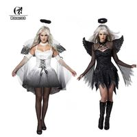 ROLECOS Brand New Halloween Costumes For Women Adult Fallen Angel Cosplay Costume Sexy White Black Dress
