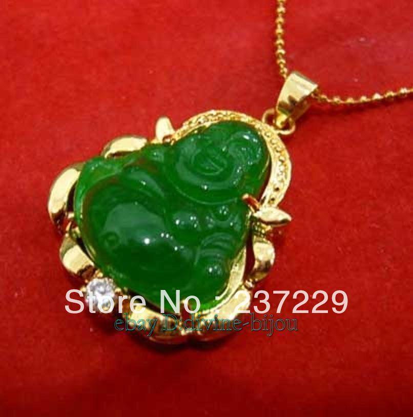 Precio al por mayor ENVÍO GRATIS ^^^^ Nuevo y afortunado collar de piedra verde Buda 18KGP colgante