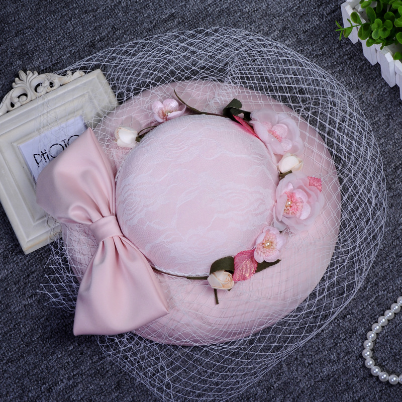 2017 Vintage Floral Linen Wedding Hats With Bows Bridal Hats Handmade Flowers Bridal Hair Accessories chapeau mariage for Brides