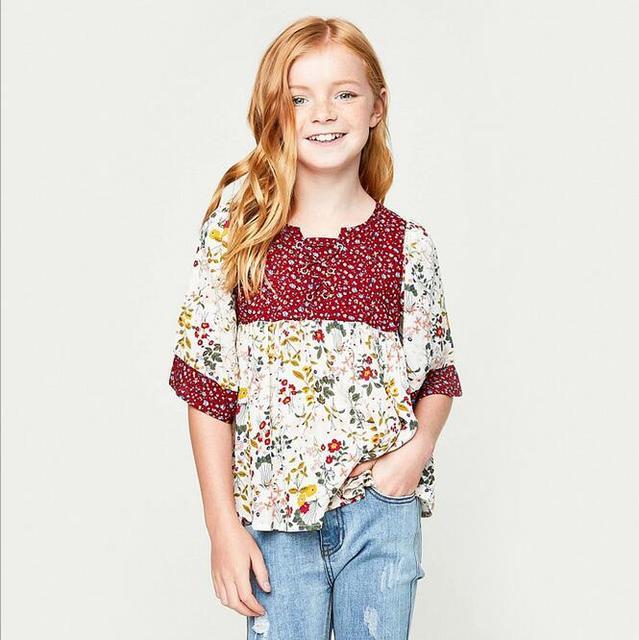 fdd3d210dc9f Big Baby Girls Printed Floral T-shirts Teenager Fashion Cotton Shirts  Junior Summer Half Sleeve Tops 2017 Kids Clothing