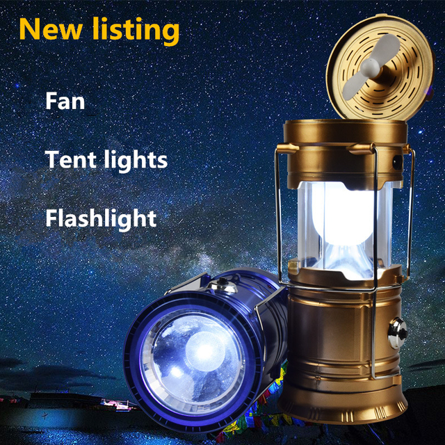 NEW Listing Multi-function Rechargeable LED C&ing Light Lanterns With Fan Outdoor Portable Lanterns Solar : rechargeable tent fan - memphite.com