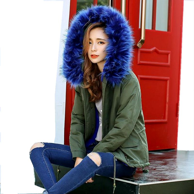 ФОТО New 2016 Winter Coats Women Jackets Hooded Fur Collar Long sleeve Thick Warm Ladies Parkas army green&Black NZ438