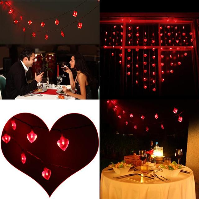 3m fairy heart 20 leds string lights outdoor garland crawling lighting for wedding valentines day party - Valentine String Lights
