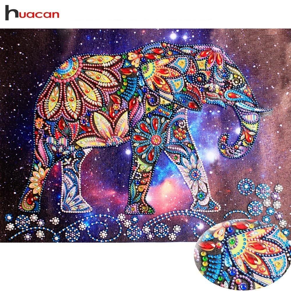 HUACAN Spezielle Form Diamant Malerei Elephant DIY Diamant Stickerei Tier Diamant Mosaik Bild Von Strass 40x30 cm