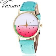 Vansvar Brand Fashion Ladies Women Wrist Watches Vintage Leather Watermelon Slice Watch Casual Quartz Watch Relogio Feminino V41