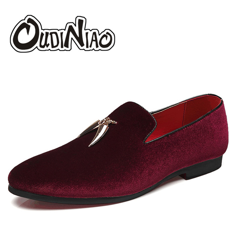 OUDINIAO Designer Shoes Men Loafers Slip-On Suede Pointed-Toe Large-Size Casual Mens