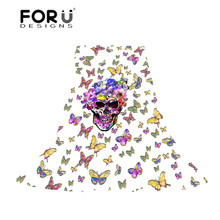 FORUDESIGNS Skull Women Scarves Ladies Butterfly Printing Long Beach Towel for Female Fashion Slik Scarf Light and Thin Cachecol