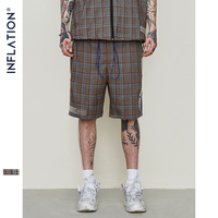 INFLATION Plaid Casual Shorts High Street Shorts Men Street wear Elastic Short Pants Lattice Drawstring Shorts For Men 9336S