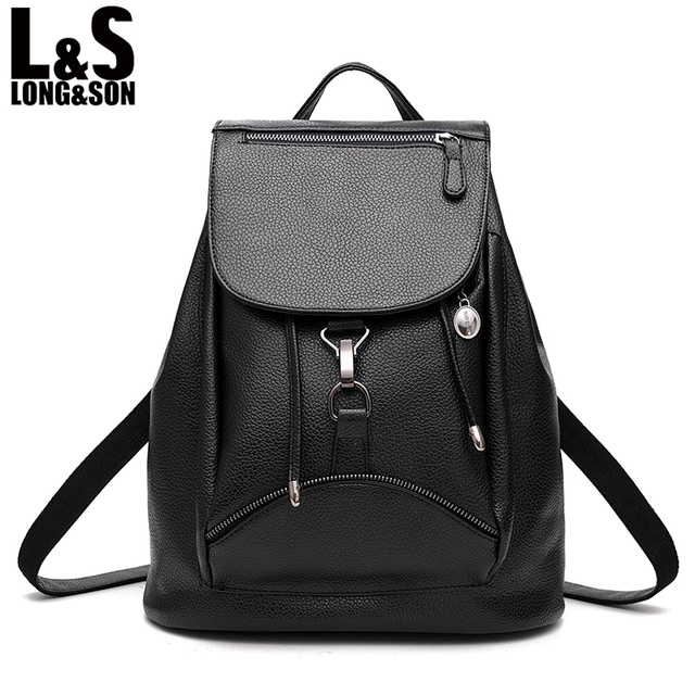 58ad1d84f7 LONG SON Fashion PU Leather Backpack Women Bags Preppy Style Backpack Girls  School Bags Zipper Shoulder Women s Back Pack WB075