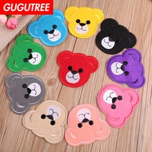 GUGUTREE embroidery bear cartoon patches animal badges applique for clothing YX-274