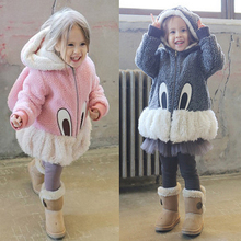 hot sell lovely Kids girls winter cute cartoon rabbit sweaters cashmere coat jacket warm baby clothes Daughter's birthday gift