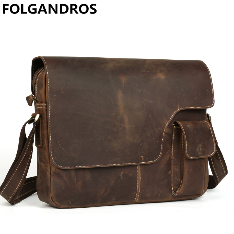 New men messenger bag brand genuine leather retro shoulder crossbody bag cowhide laptop vintage satchel large school bookbag free shipping 2017 new product new technology 1w 6w low power nio t6b fm pll transmitter for wireless broadcast with pc control