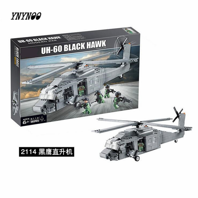YNYNOO 2114 UH-60 Black Hawk Military Helicopter Building Blocks Decool 562pcs Educational Bricks Models Building Toys P336 ninjago juguetes military series armed helicopter blocks decool plastic diy educational bricks building model toys for children