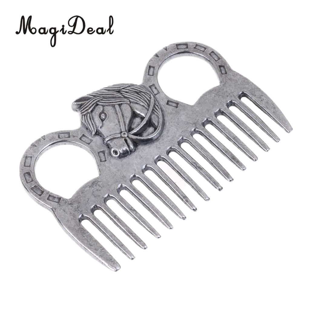 MagiDeal Stainless Steel Polished Horse Pony Grooming Comb Tool Currycomb Accessory ...