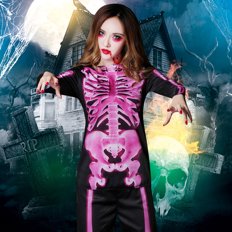 Halloween carnival ghost masquerade demon terrifying adult girl women scare skull skeleton costume cosplay performance costumes