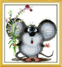 Big-eared mouse cross stitch kit 14ct 11ct pre stamped canvas cross stitching animal embroidery DIY handmade needlework plus(China)