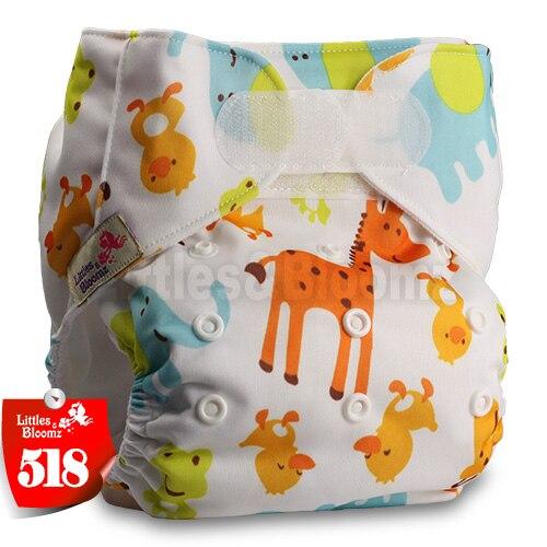 [Littles&Bloomz] Один размер многоразовые тканевые подгузники Моющиеся Водонепроницаемые Детские карманные подгузники стандартная застежка на липучке - Цвет: 518