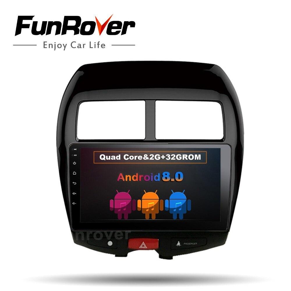 Funrover 10.1 Android8.0 2 din Voiture autoradio magnétophone lecteur DVD GPS navigation pour MITSUBISHI ASX Auto navi stéréo RDS USB