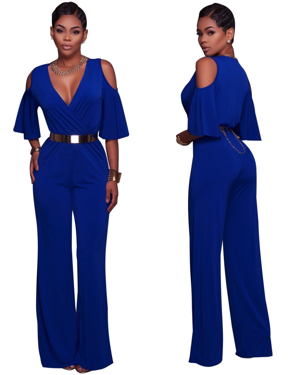 6afe8f36c7 New 2017 Jumpsuit Women Sexy Night Club Fashion Cleavage Solid Strapless  Hot Models 3 Colors Overalls Long Pant With Belt A0266-in Jumpsuits from  Women s ...