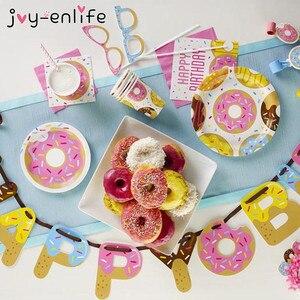 JOY-ENLIFE пончик яркие вечерние одноразовые Бумага чашки 1st сладкий 16th С Днем Рождения украшения детский Душ Свадебный декор