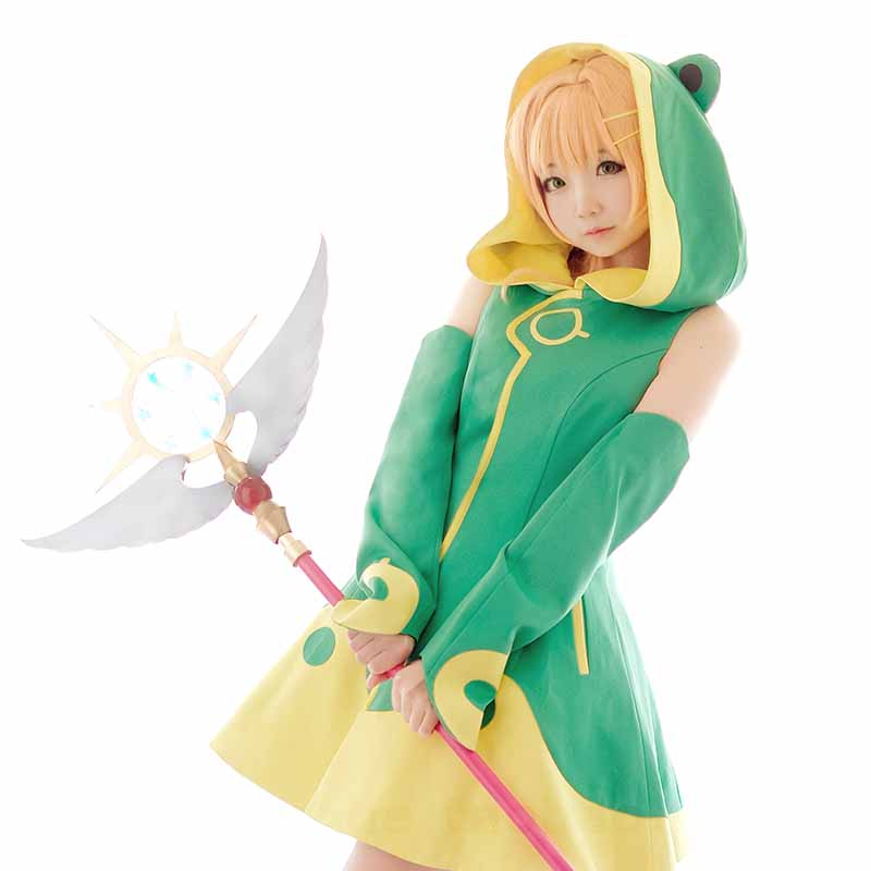 [March Stock ]Anime Cardcaptor Sakura Kinomoto Changable Frog Cute Uniform Cosplay Costume S-L For Halloween Free Shipping New