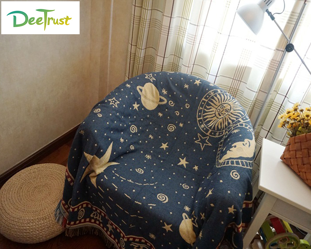 Starry Sky Cotton Sofa Double Blanket Soft Universe Fabric on Bed Warm Cobertor Throw Blanket Travel Supplies Home Textile