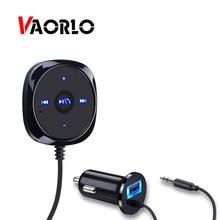 VAORLO AUX 3,5 receptor Bluetooth de MM Kit manos libres de coche música adaptador inalámbrico para altavoz de coche con micrófono estéreo receptor de música automático