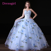 Sky Blue Cheap Quinceanera Dresses 2017 Ball Gown Sweetheart Floor Length Tulle Pearls Crystals Sweet 16 Dresses