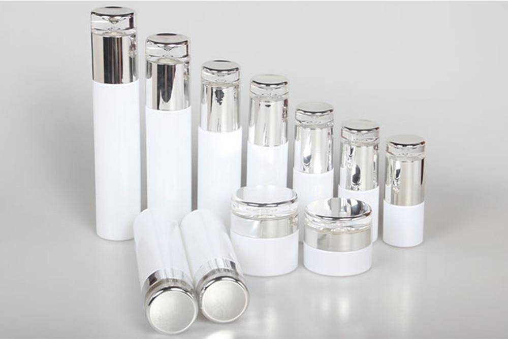 10pcs Classical Elegant White Glass Pump Bottle Glass Cream Jar Emulsion Bottle Lotion Pump Bottle 30g