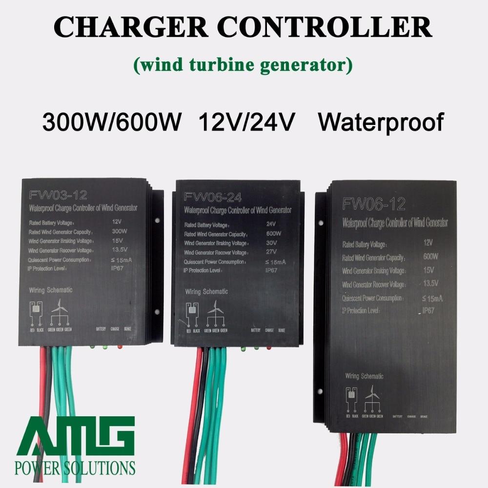 300W/600W 12V/24V Auto/Manual Brake Wind Charger Controller Regulator for Residential Wind Turbine Home Use maylar 12v 24v auto wind