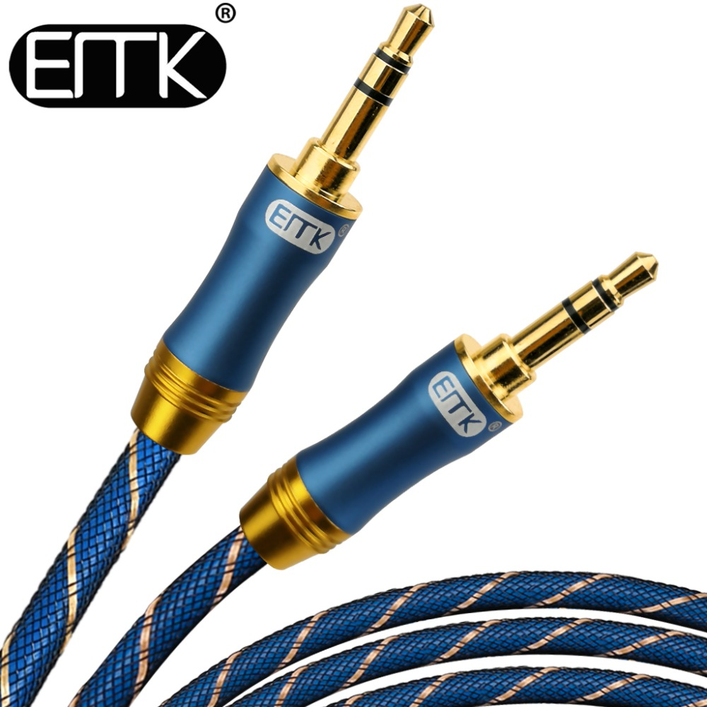 EMK 3.5mm Jack Audio Câble Plaqué Or 3.5mm Mâle à 3.5mm mâle Aux Câble 3 m 5 m pour iPhone Voiture Casque Haut-Parleur Cordon Auxiliaire