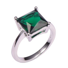 Simulated Emerald 925 Sterling Silver Wedding Party Fashion Design Romantic Ring Size 5 6 7 8 9 10 11 12 PR47(China)