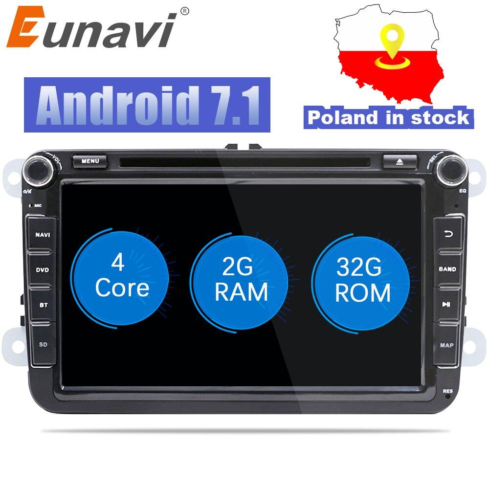 Eunavi 2 Din 8 ''Quad core Android 7.1 8.1 dvd dell'automobile per il VW Polo Jetta Tiguan passat b6 cc fabia collegamento specchio wifi Radio CD in dash